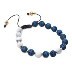 Howlite and Lava Rock Stone Beads Diffuser Bracelet Adjustable Friendship Bracelet Gift