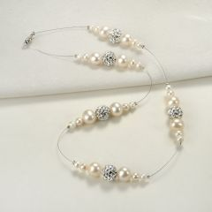 White Freshwater Pearls Floating Illusion Necklace with Rhinestone Balls