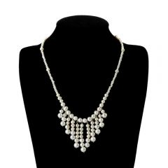 Vintage White Freshwater Pearl Beads Bib Necklace for Women
