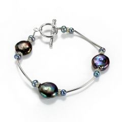 Black Coin Freshwater Pearl and Alloy Tube Style Bracelet Charm Bangle
