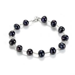 Black Freshwater Pearl and Sterling Silver Tube Bracelet Tin Cup Bracelet Charm Bangle