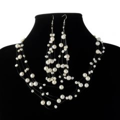 White Pearl Jewelry Set Floating Illusion Pearl Necklace and Earrings Set