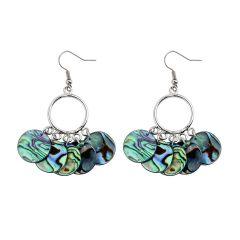 Women's Copper Ear Hook with Dangle Four Round Shell Earrings