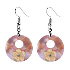 Beautiful Trendy Women's Round Shell Earrings Flower Decoration with Copper Hook
