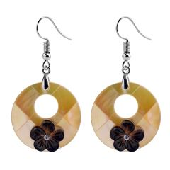 Women's Charming Round Shell Drop Dangle Earrings Fashion Jewelry Flower Decorations