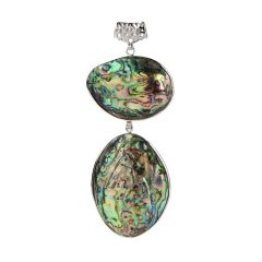 Two Green Abalone Shells Boho Chic Natural Seashell Pendant