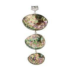 Rainbow Abalone Shell Three Tier Interchangeable Pendant 5""