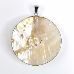 Natural Mother of Pearl Shell Round Charms Pendants Making Jewelry