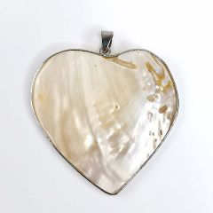 Natural Mother of Pearl Heart Pendant Heart Shaped Shell MOP Pendant