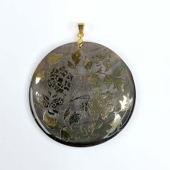 Flowers Black Mother of Pearl Shell Pendant with Gold Plated Bail DIY Making Jewelry