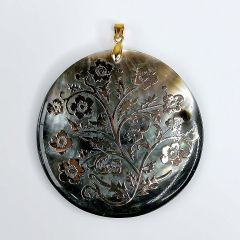 Flowers Black Mother of Pearl Shell Round Pendant Charms with Gold Plated Bail