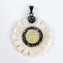 Mother of Pearl Pendant Carved Sunflower Shell Charms Jewelry Making