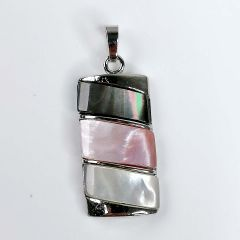 Oblong Patchwork Multi Color Abalone Oyster Shell Mother Of Pearl Pendants