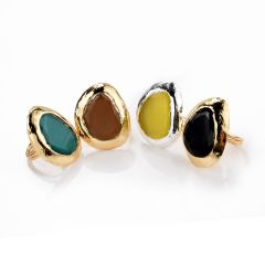 Classic Gold Plated Brass Cat's Eye Stone Finger Ring Multi Color