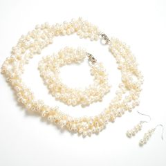 3 Strands Twisted Dancing Pearl Necklace Bracelet Earrings Set