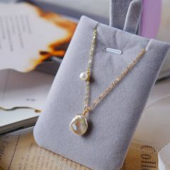 Single Baroque Freshwater Pearl Simple Pendant Chain Necklace for Women Girls