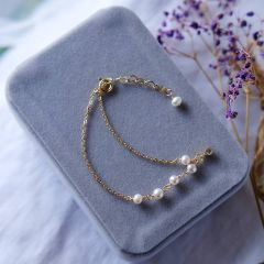 Gold Plated Link Chain White Pearl Bracelet with Tiny Rhinestone Teardrop Charms Adjustable 7-8""