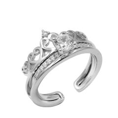 Fashion Vintage Crown Design Rhinestone Silver Open Adjustable 2-in-1 Ring Set Jewelry Gift