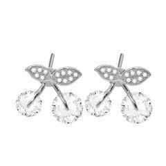 Sweet Cherry Fruit Eardrop Stud 925 Sterling Silver Earrings Mini Lovely Women Jewelry