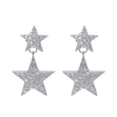 Fashion 925 Pure Silver Zircon crystal five-point star Jewelry Ear Stud Earrings for Women