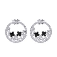Women Fashion Four Leaf Clover in Circle Style Cubic Zirconia Stud Earrings