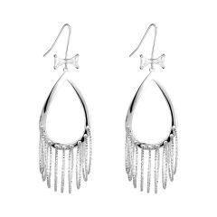 Sterling Silver Teardrop Multi Circle Dangling Chandelier Earrings Fashion Bohemian Jewelry