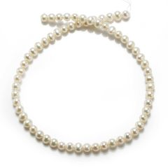 7-8mm Off-Round White Freshwater Pearl Loose Pearls Strand