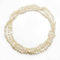 6-7mm, 7-8mm Nugget White Freshwater Pearl Rope Strands Necklace