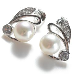 Cute Earrings Stud CZ 925 Silver Freshwater Pearls 7-7.5mm