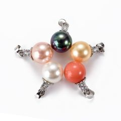 Single 12mm Round Shell Pearl Copper Pendant Multi Colors without Chain