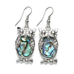 Cute Owl Charm Abalone Shell Earrings Ladies Jewelry