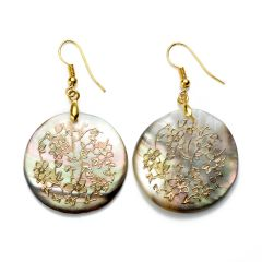 Floral Charm Round Shell Earrings for Ladies Unique Jewelry Handmade Golden Wire