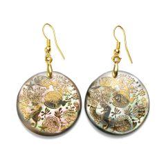 Ocean Animal Charm Round Shell Earrings Handmade Golden Wire