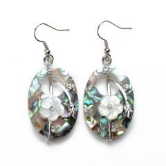 Oval White Flower Paua Abalone Shell Earrings for Ladies Unique Jewelry