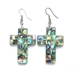 Cross Charm Abalone Shell Earrings Unique Ladies Jewelry