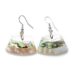 Fancy White Shell with Abalone Shell Earrings Ladies Jewelry
