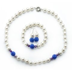 Luxurious 10mm White Shell Pearl Jewelry Set with Rhinestones Pave Ball for Women 3-Piece Set