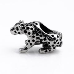 DIY Stainless Steel Leopard Beads Vintage Black Charms Beads Jewelry Making Accessories
