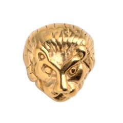 Stainless Steel Animal Lion Head Beads For Jewelry Making Charms DIY Accessories Gold Color
