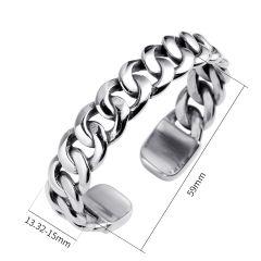 Retro Silver Men Jewelry Punk Stainless Steel Bracelet Men Twist Horns Cuff OPen Bracelets & Bangles