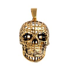 Men's Gothic Rock Pendant Stainless Steel Hollow Skull Golden Color