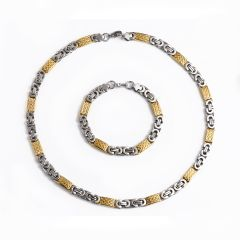 Stainless Steel Byzantine Chain Necklace Bracelet 8mm Gold Silver