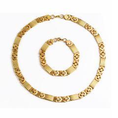 Stainless Steel Men's Gold Flat Byzantine Necklace Bracelet 11mm Chain