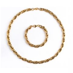Stainless Steel Rope Chain Set Men's Gold Necklace with Bracelet