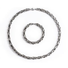 Byzantine Box Stainless Steel Chain Necklace & Bracelet Set Silver for Men