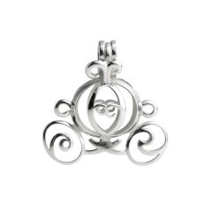 Carriage Cage 925 Sterling Silver Love Wish Pearl Pendant