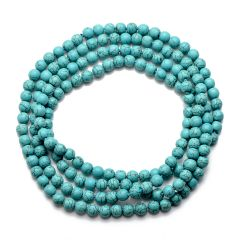 8mm Round Blue Turquoise Necklace Beaded Handmade Jewelry