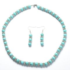 8mm Blue Turquoise Strand Necklace and Earrings Set