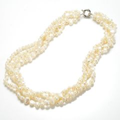 4 Strands White Freshwater Nugget Pearl Twisted Necklace