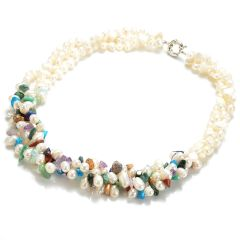 Mixed Gemstone Chips White Freshwater Pearl 3-strands Necklace
